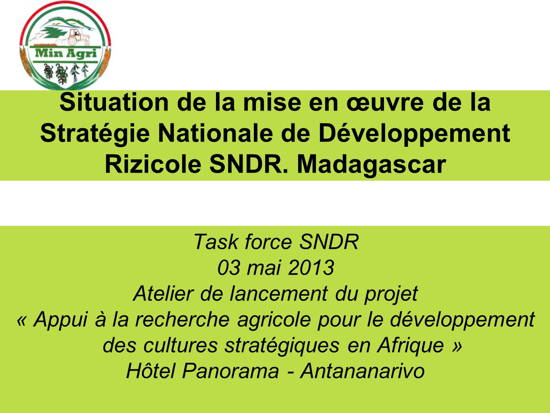 Situation de la mise en œuvre de la Stratégie Nationale de Développement Rizicole SNDR. Madagascar