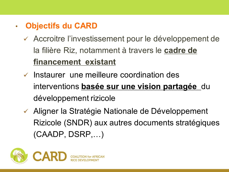 Objectifs du CARD Accroitre l'investissement pour le développement de la filière Riz, notamment à travers le cadre de financement existant.