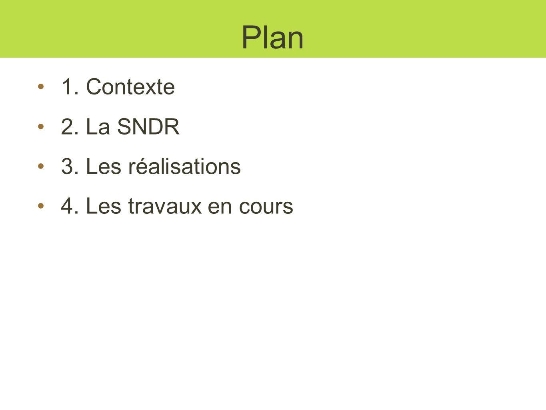 Plan 1. Contexte 2. La SNDR 3. Les réalisations