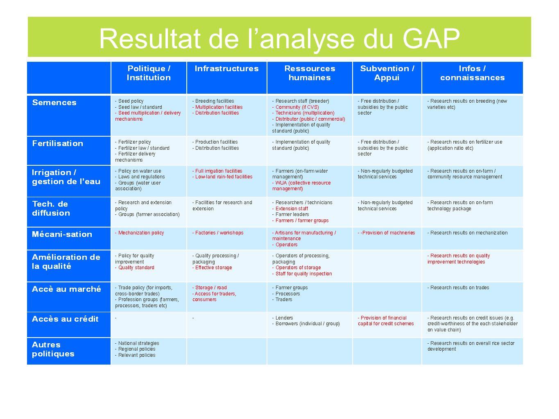 Resultat de l'analyse du GAP
