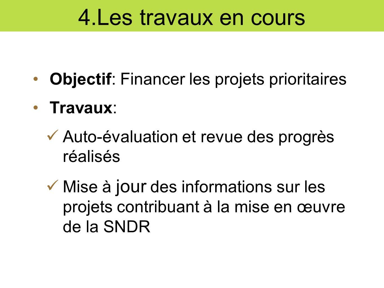 4.Les travaux en cours Objectif: Financer les projets prioritaires