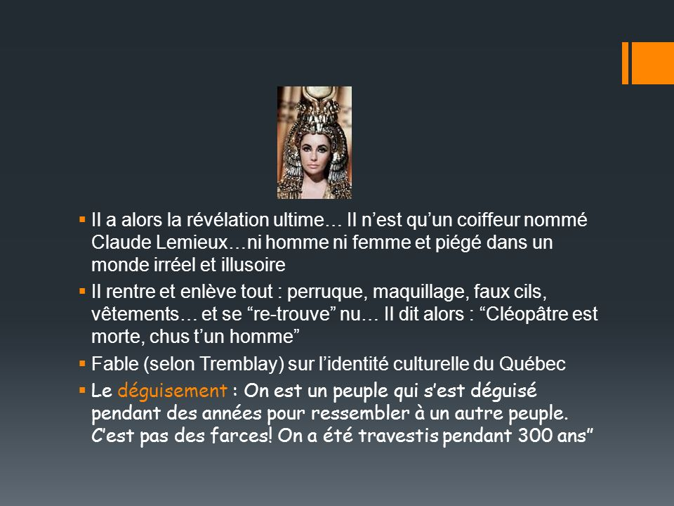 Il a alors la révélation ultime… Il n'est qu'un coiffeur nommé Claude Lemieux…ni homme ni femme et piégé dans un monde irréel et illusoire