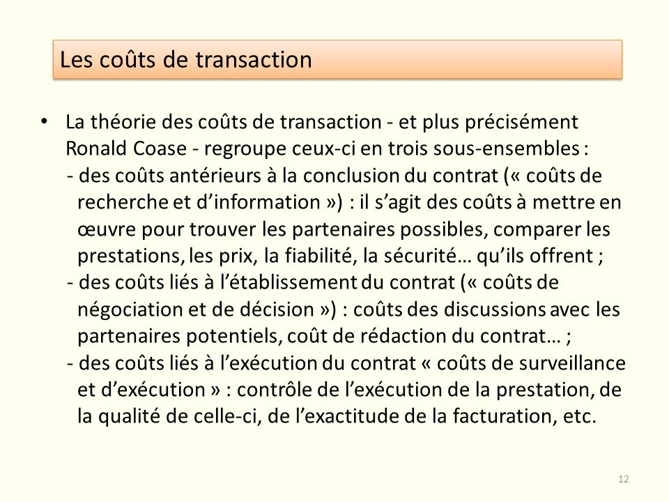 Les coûts de transaction