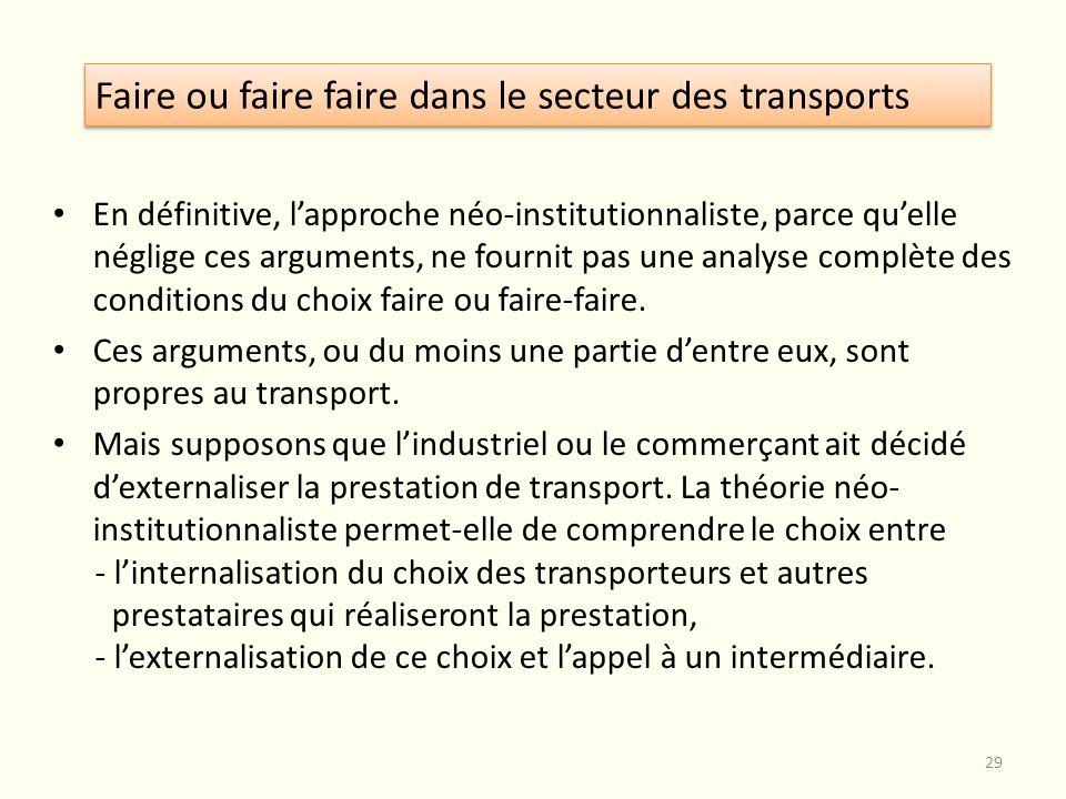 Faire ou faire faire dans le secteur des transports