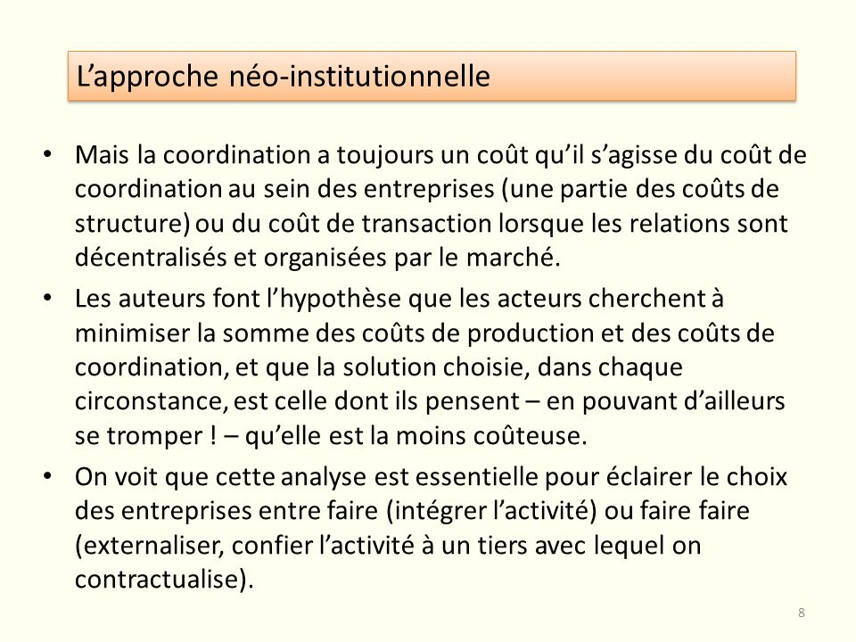 L'approche néo-institutionnelle