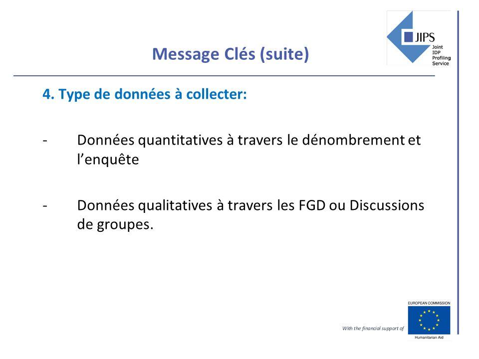 Message Clés (suite) 4. Type de données à collecter: