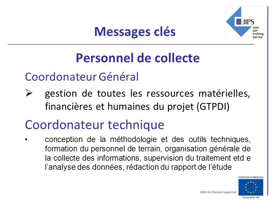 Messages clés Personnel de collecte