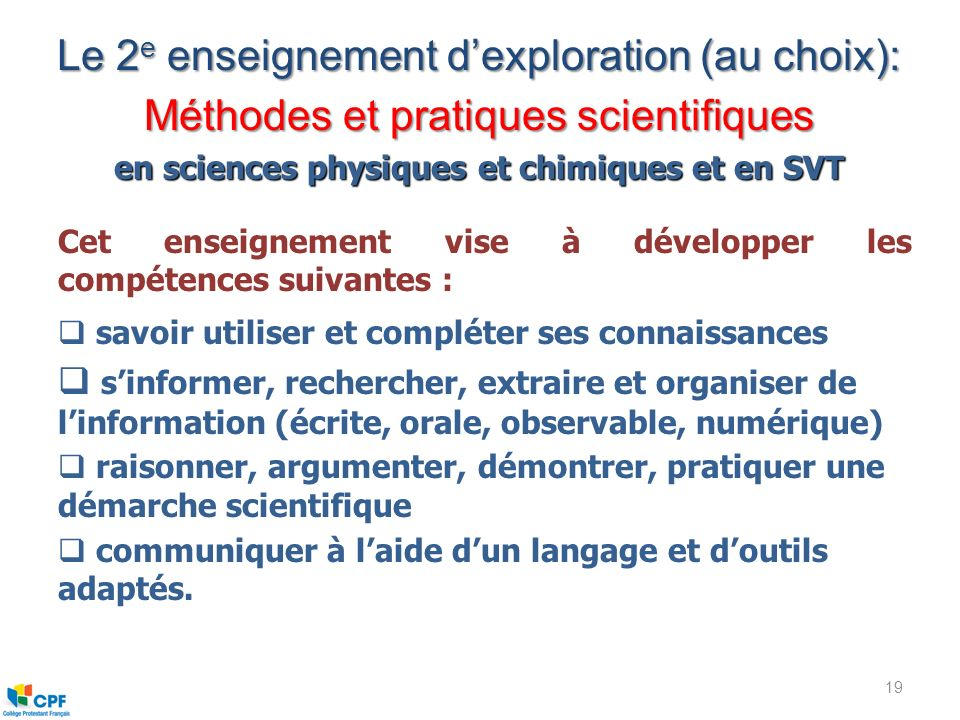 en sciences physiques et chimiques et en SVT