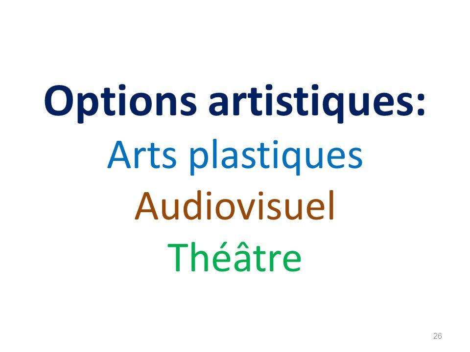 Options artistiques: Arts plastiques Audiovisuel Théâtre