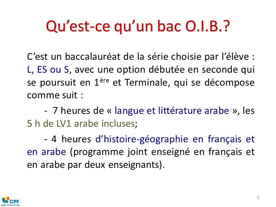 Qu'est-ce qu'un bac O.I.B.