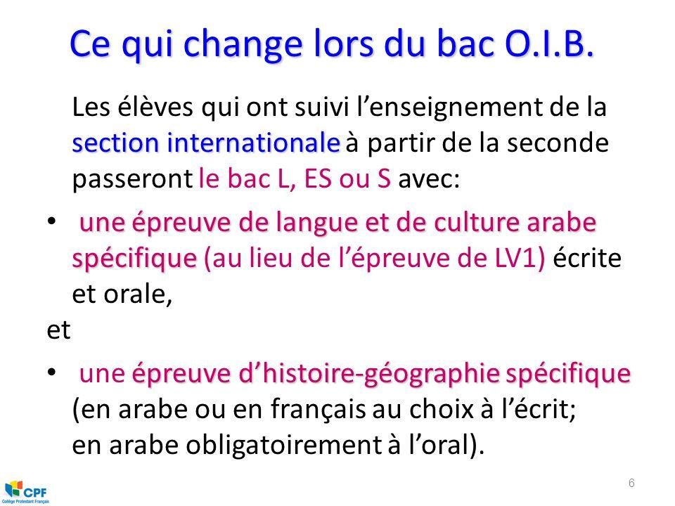 Ce qui change lors du bac O.I.B.