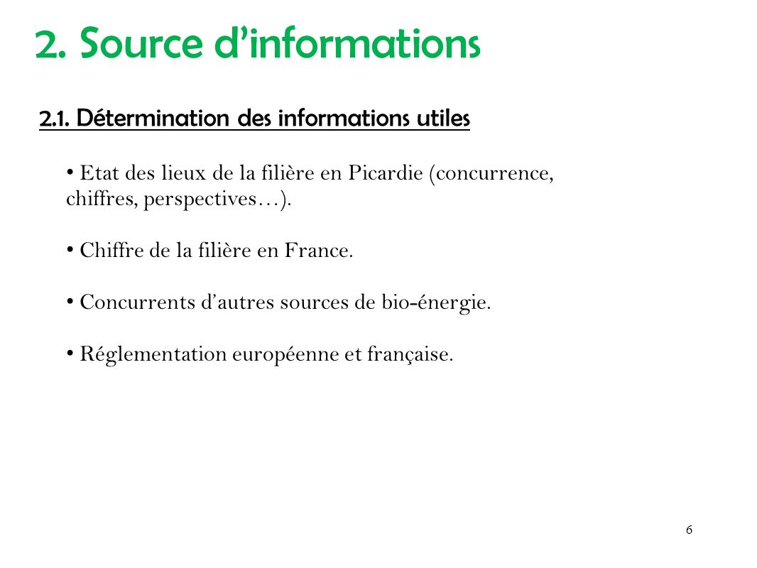 2. Source d'informations