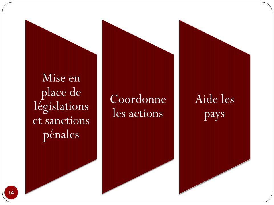Mise en place de législations et sanctions pénales