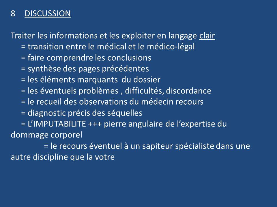 DISCUSSION Traiter les informations et les exploiter en langage clair. = transition entre le médical et le médico-légal.
