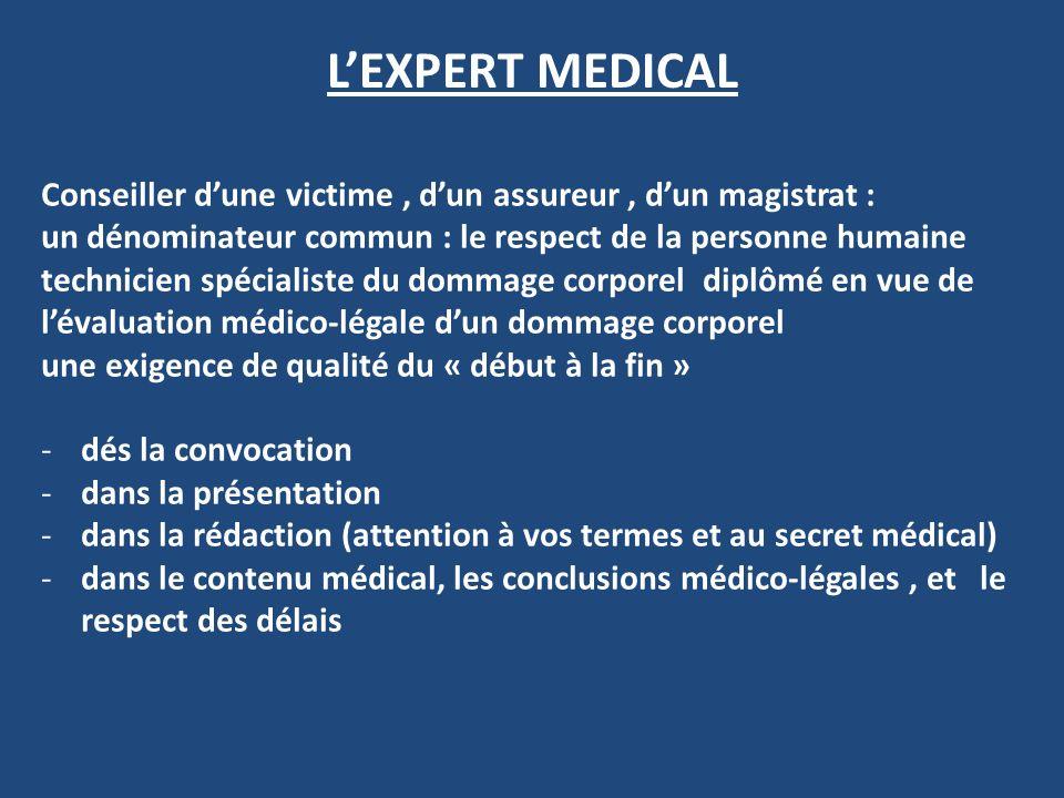L'EXPERT MEDICAL Conseiller d'une victime , d'un assureur , d'un magistrat :
