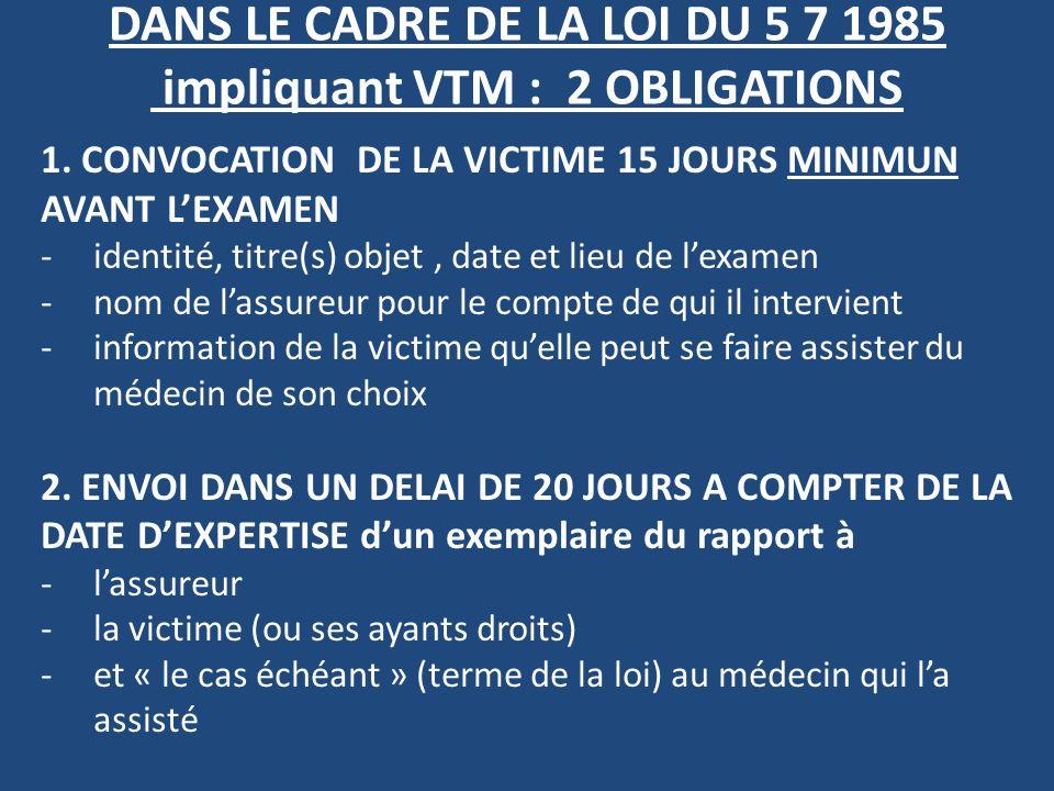 DANS LE CADRE DE LA LOI DU 5 7 1985 impliquant VTM : 2 OBLIGATIONS