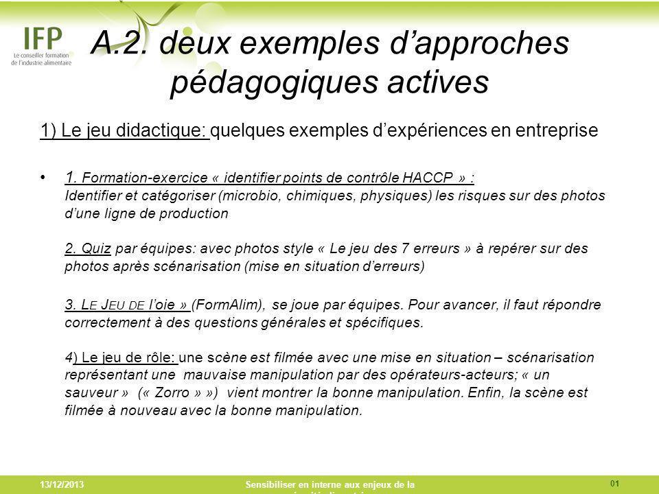 A.2. deux exemples d'approches pédagogiques actives