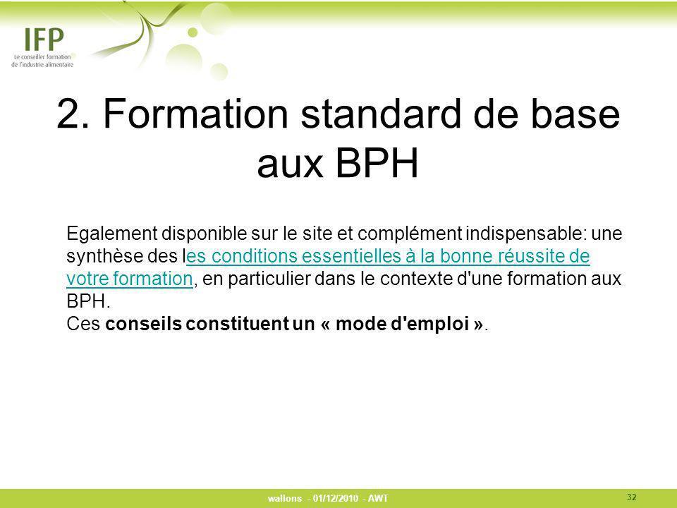 2. Formation standard de base aux BPH