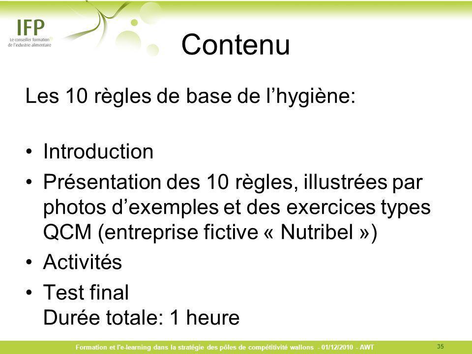 Contenu Les 10 règles de base de l'hygiène: Introduction