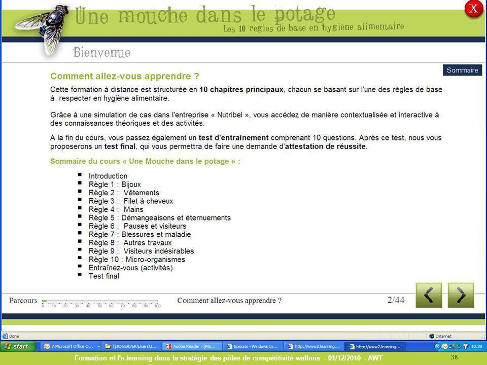 Formation et l e-learning dans la stratégie des pôles de compétitivité wallons - 01/12/2010 - AWT