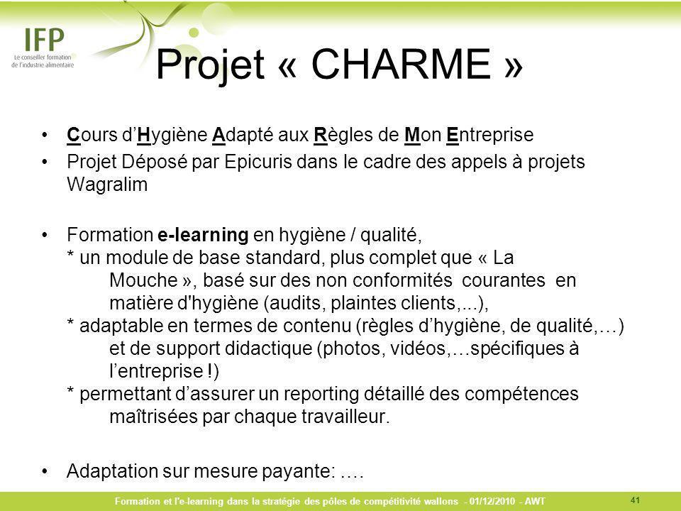 Projet « CHARME » Cours d'Hygiène Adapté aux Règles de Mon Entreprise