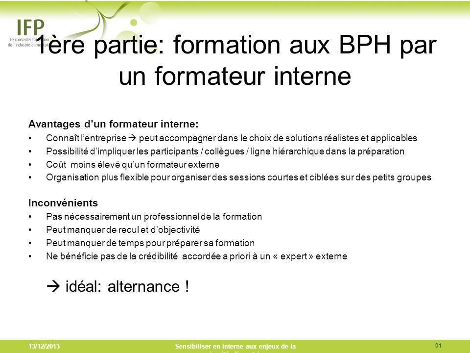 1ère partie: formation aux BPH par un formateur interne