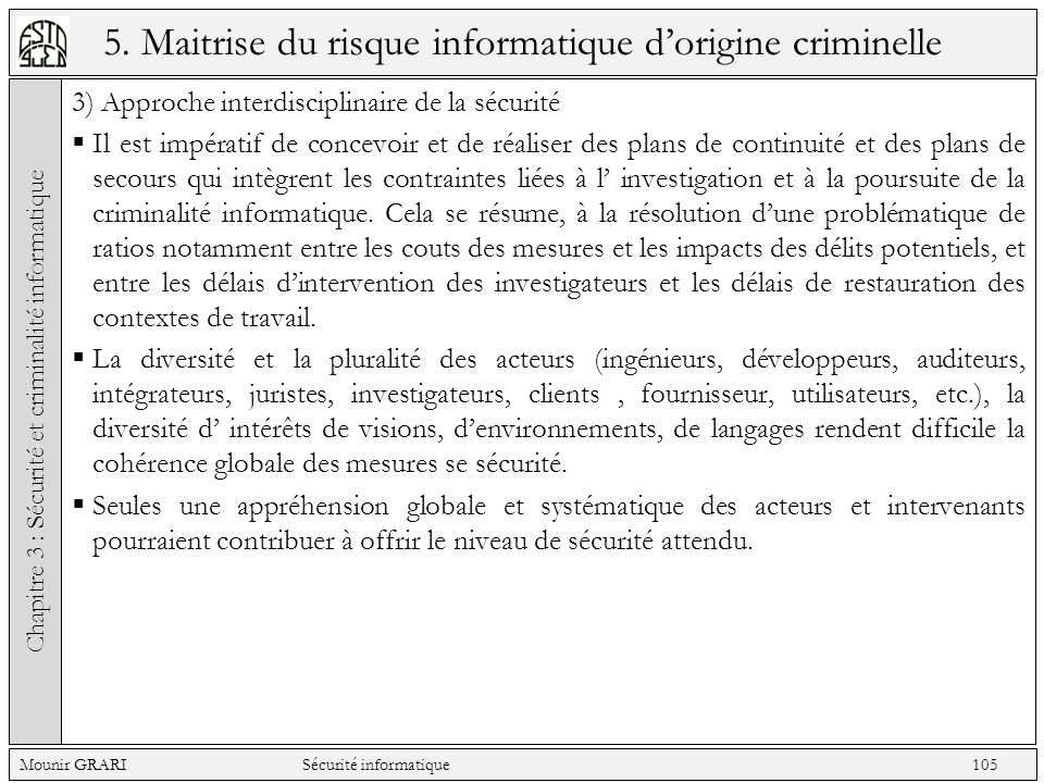5. Maitrise du risque informatique d'origine criminelle