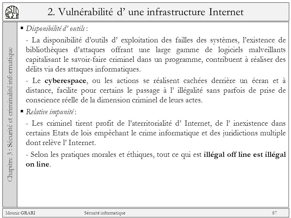 2. Vulnérabilité d' une infrastructure Internet