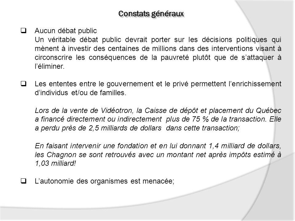 Constats généraux Aucun débat public