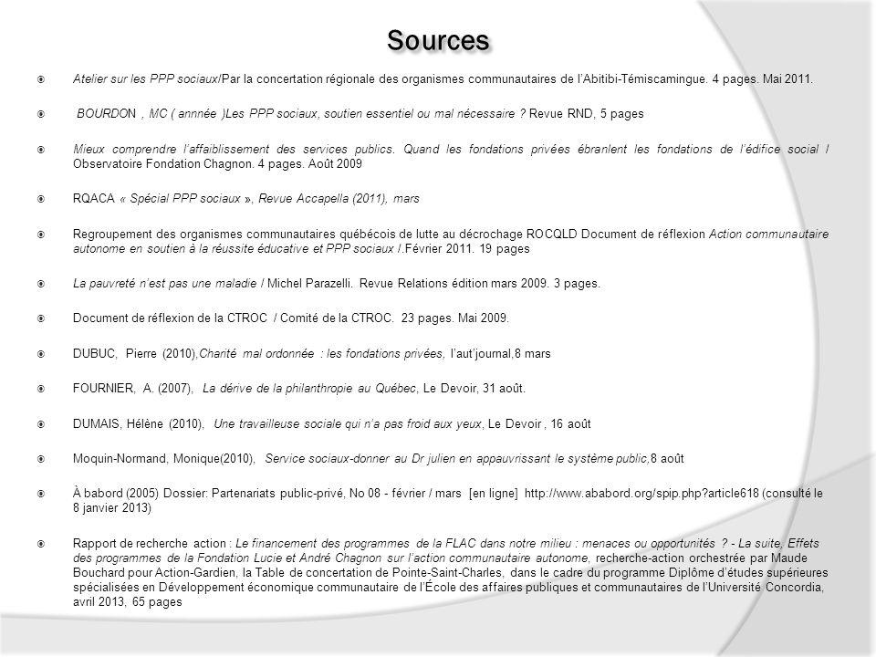 Sources Atelier sur les PPP sociaux/Par la concertation régionale des organismes communautaires de l'Abitibi-Témiscamingue. 4 pages. Mai 2011.