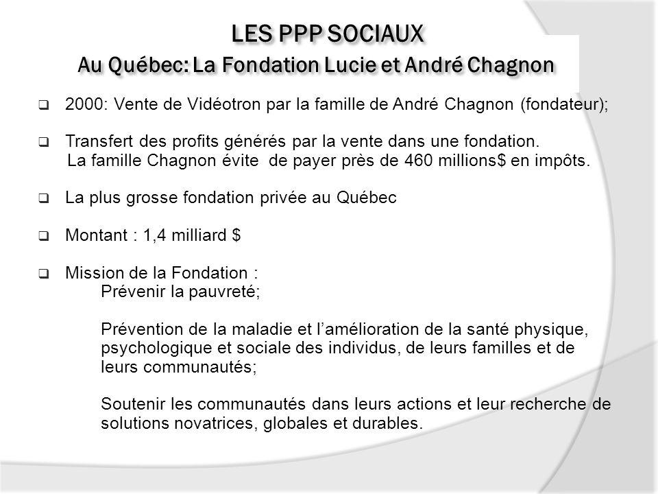 Au Québec: La Fondation Lucie et André Chagnon