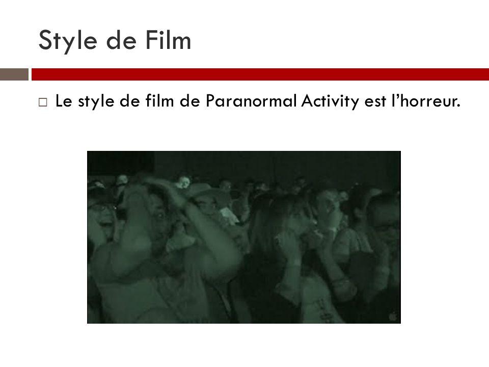 Style de Film Le style de film de Paranormal Activity est l'horreur.