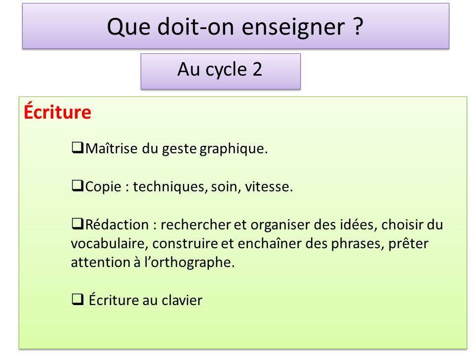 Que doit-on enseigner Au cycle 2 Écriture