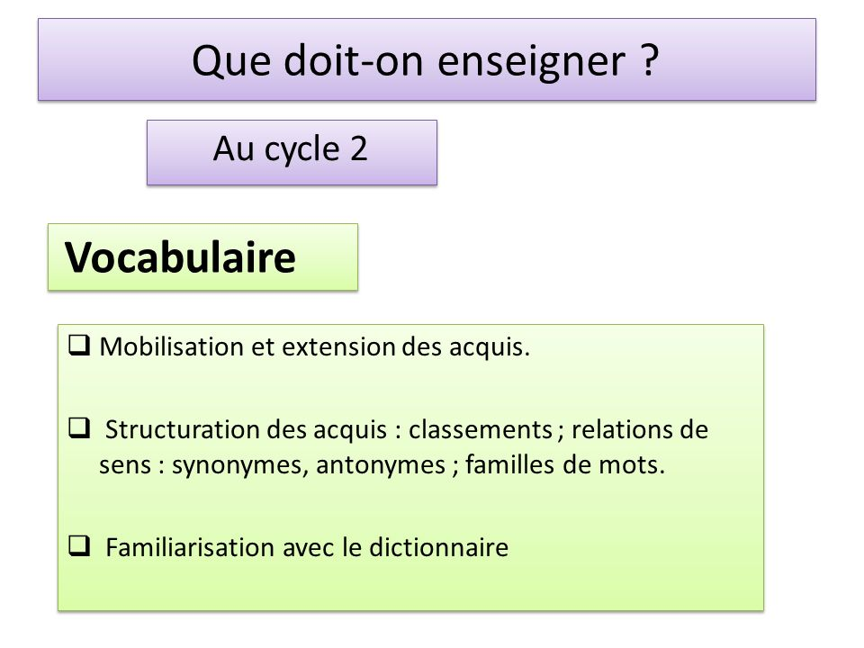 Que doit-on enseigner Vocabulaire Au cycle 2