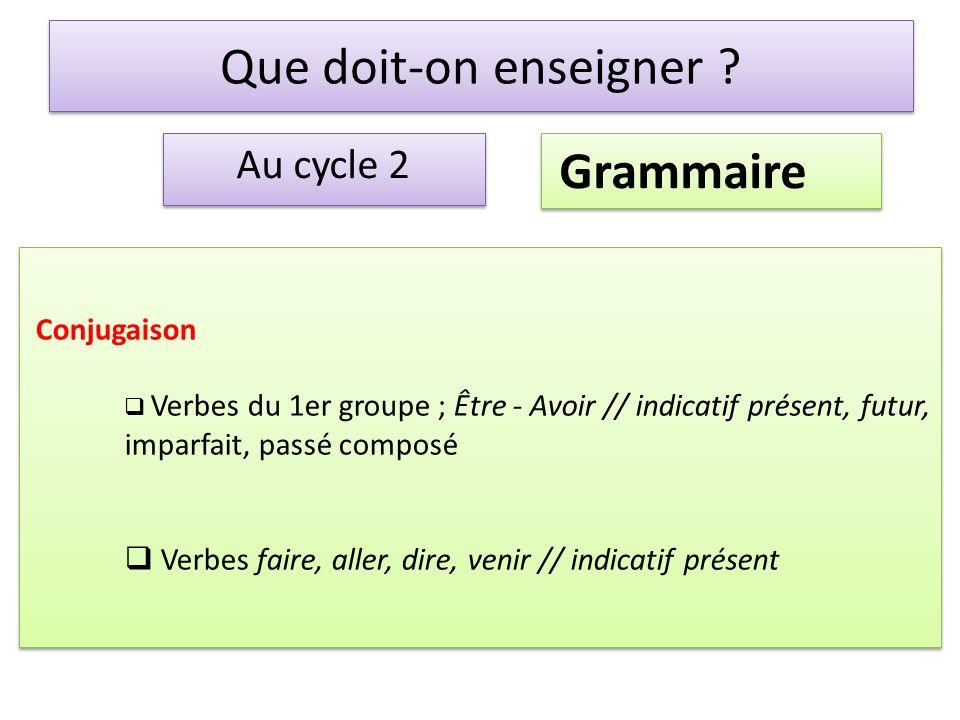 Que doit-on enseigner Grammaire Au cycle 2 Conjugaison