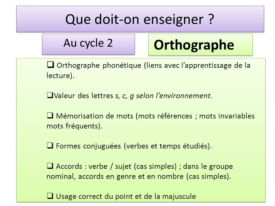 Que doit-on enseigner Orthographe Au cycle 2