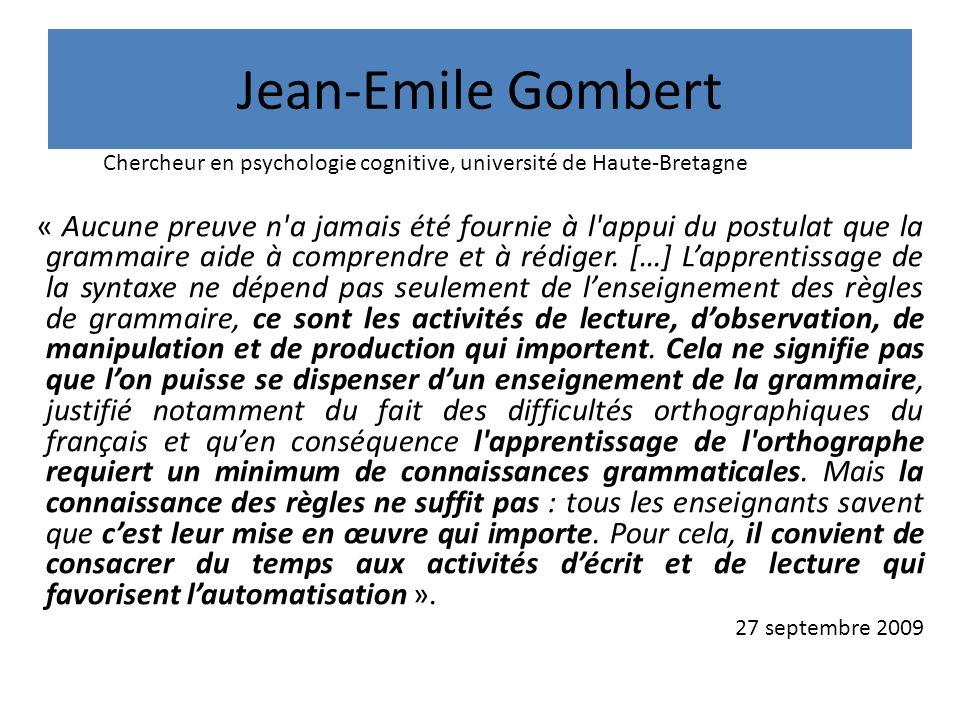 Jean-Emile Gombert Chercheur en psychologie cognitive, université de Haute-Bretagne.