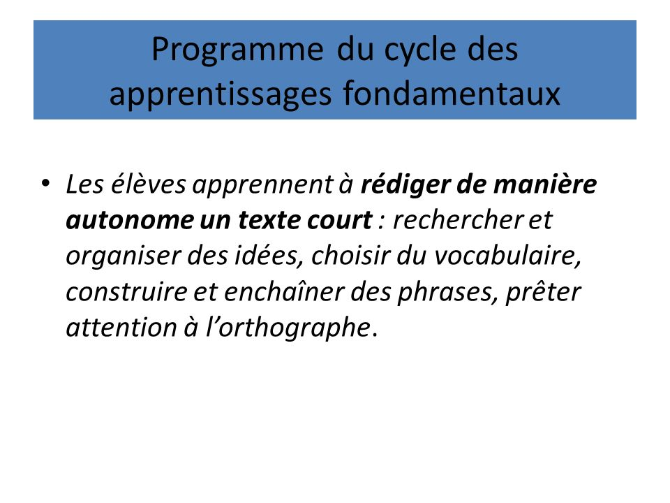 Programme du cycle des apprentissages fondamentaux