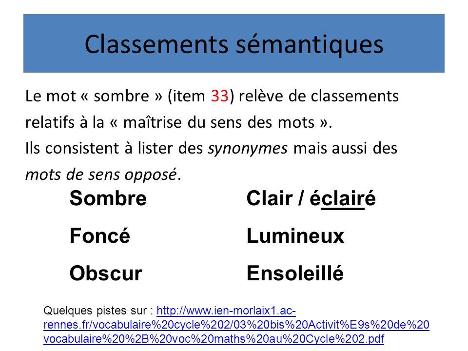 Classements sémantiques