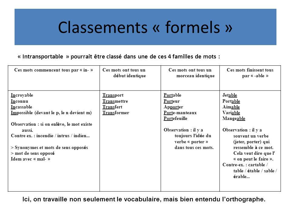 Classements « formels »