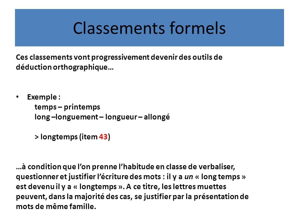 Classements formels Ces classements vont progressivement devenir des outils de. déduction orthographique…