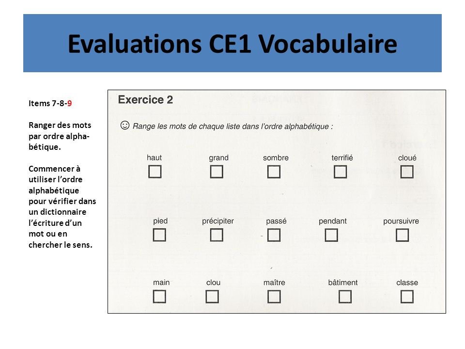 Evaluations CE1 Vocabulaire