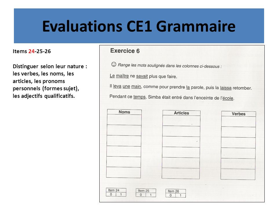 Evaluations CE1 Grammaire