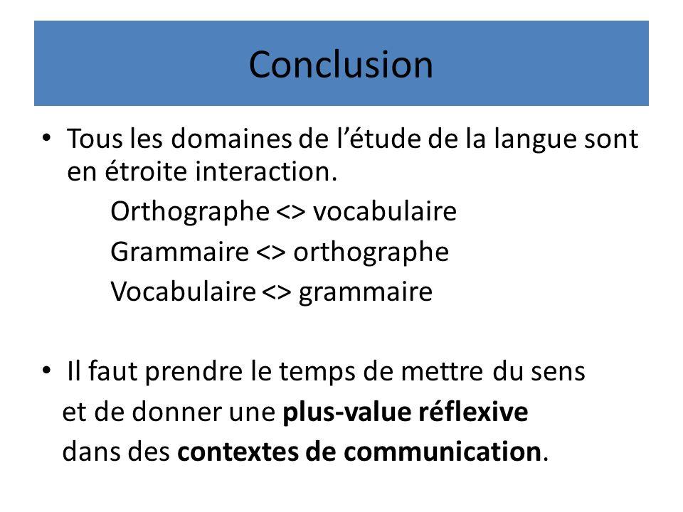 Conclusion Tous les domaines de l'étude de la langue sont en étroite interaction. Orthographe <> vocabulaire.