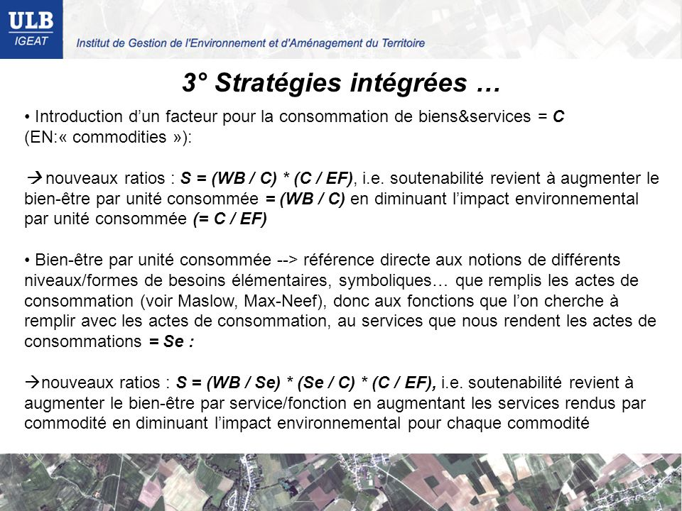 3° Stratégies intégrées …