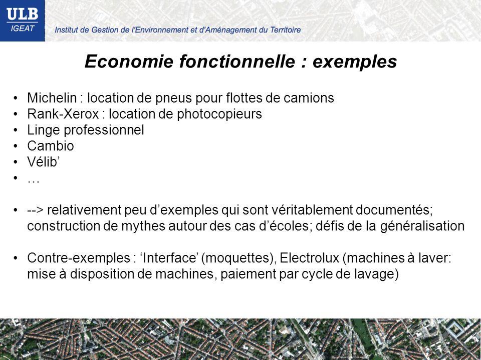 Economie fonctionnelle : exemples