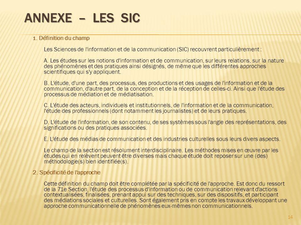 Annexe – Les SIC
