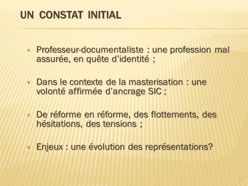 Un constat initial Professeur-documentaliste : une profession mal assurée, en quête d'identité ;