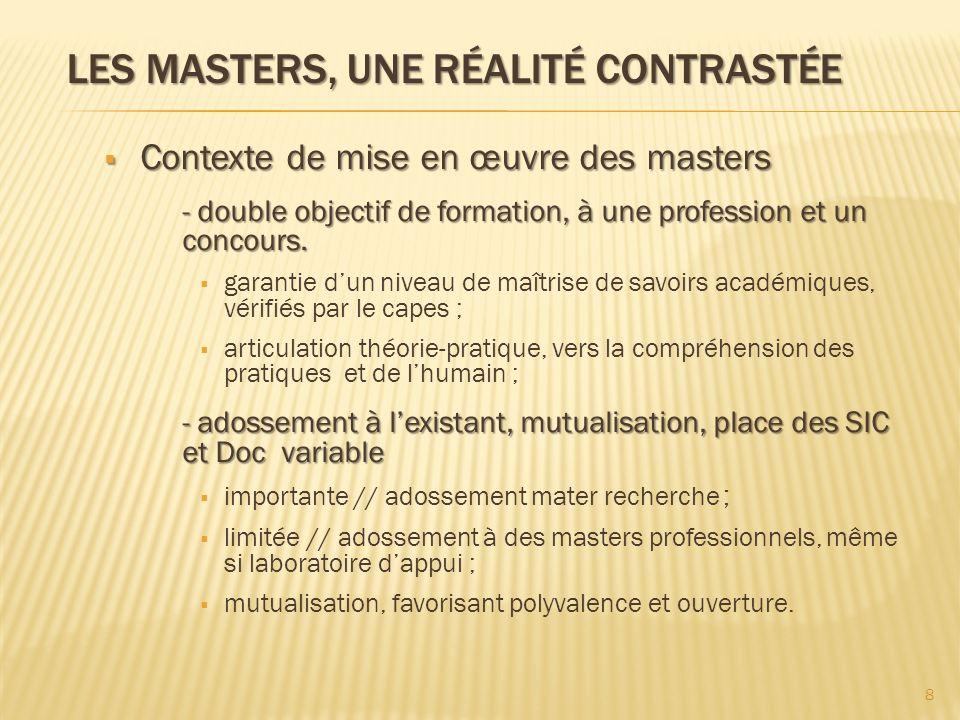 Les masters, une réalité contrastée