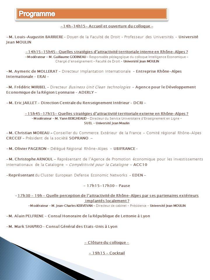 Programme -14h-14h15- Accueil et ouverture du colloque –